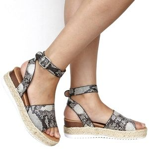 Shoes - New Snake Open Toe Espadrille Platform Sandals